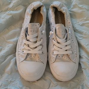 Converse White Lace Slip-ons